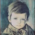 Broodjeaapverhaal over huilende jongen schilderij