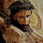 De spons gedrenkt met zure wijn voor Jezus aan het kruis