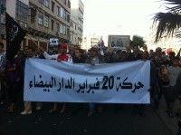Demonstranten in Casablanca op 9 juni / Bron: Magharebia, Wikimedia Commons (CC BY-2.0)